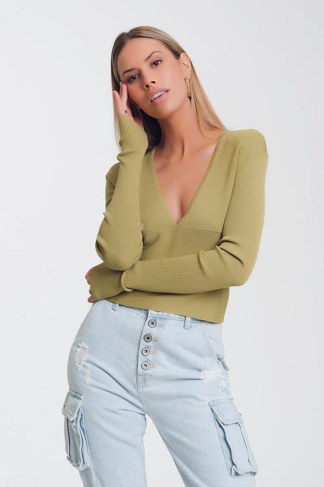v neck ribbed sweater in green