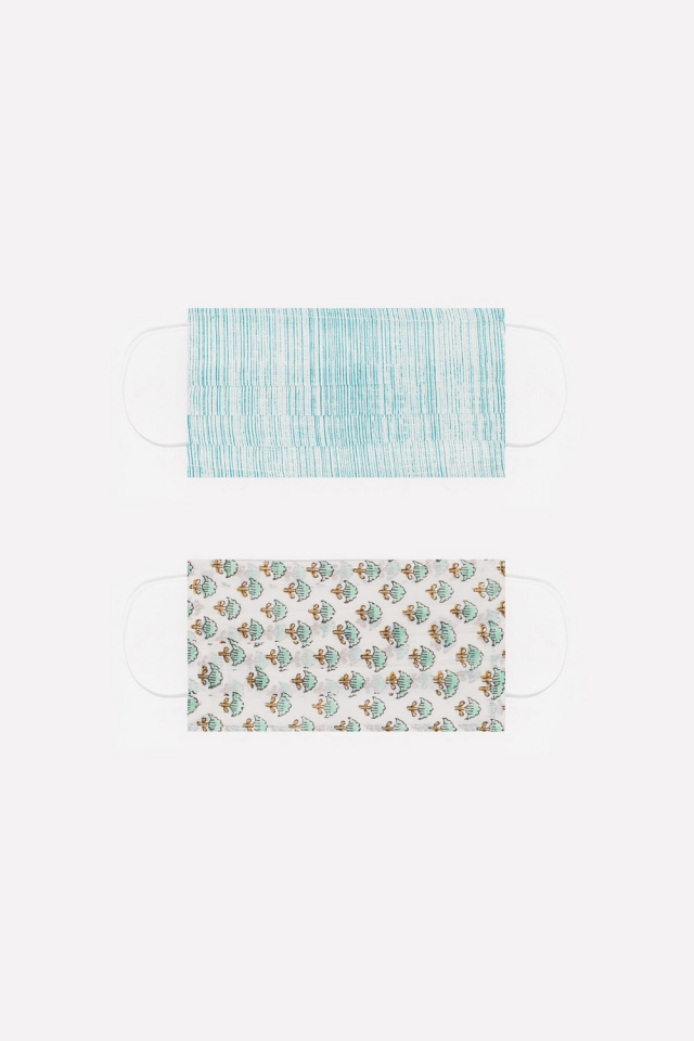 2 PACK organic cotton printed turquoise Mask