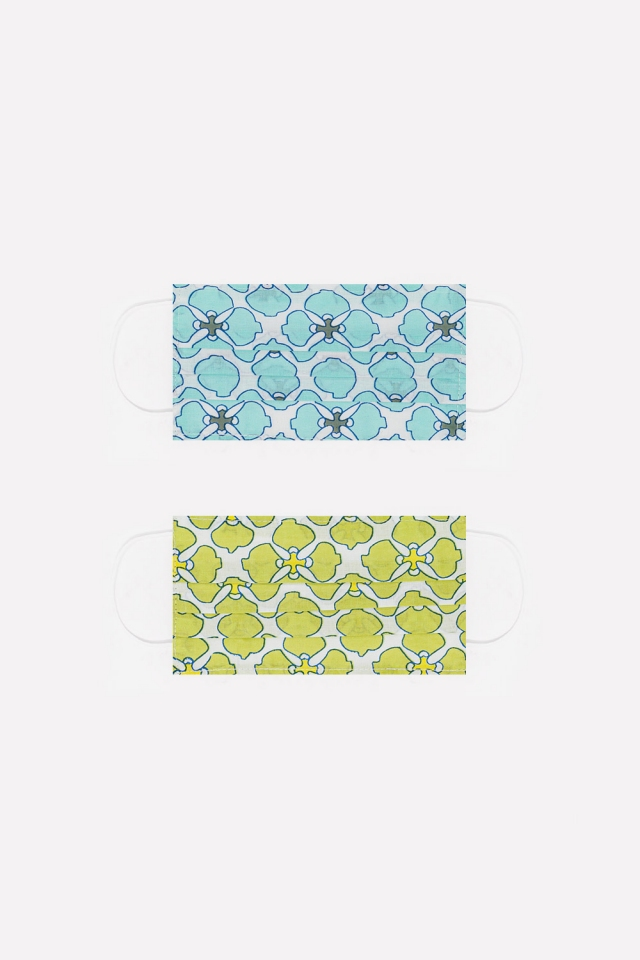 2 PACK organic cotton flower print Mask in green and turquoise