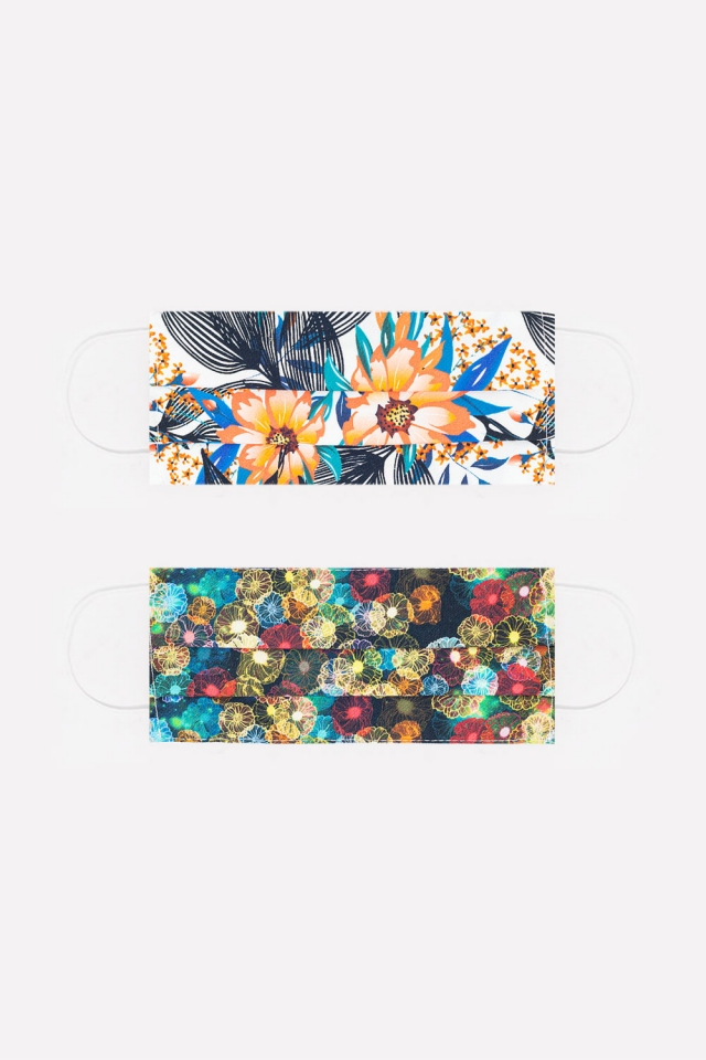 2 PACK flower and tropical print Mask