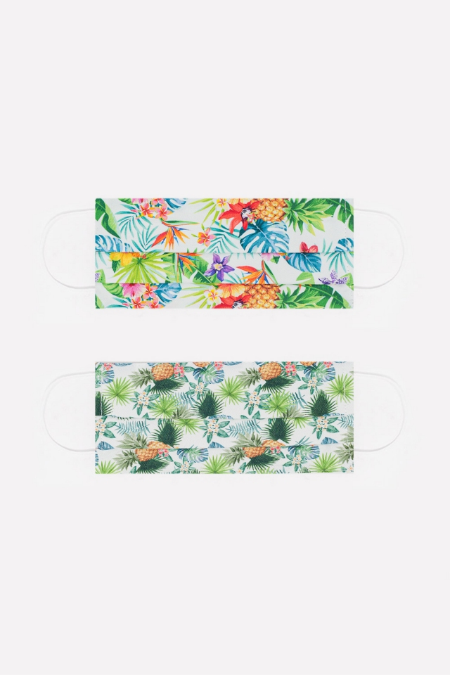 2 PACK pineapple and tropical palms tree print Mask