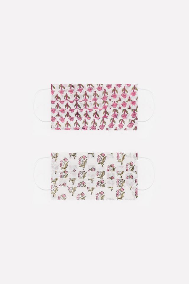 2 PACK organic cotton flower printed pink Mask