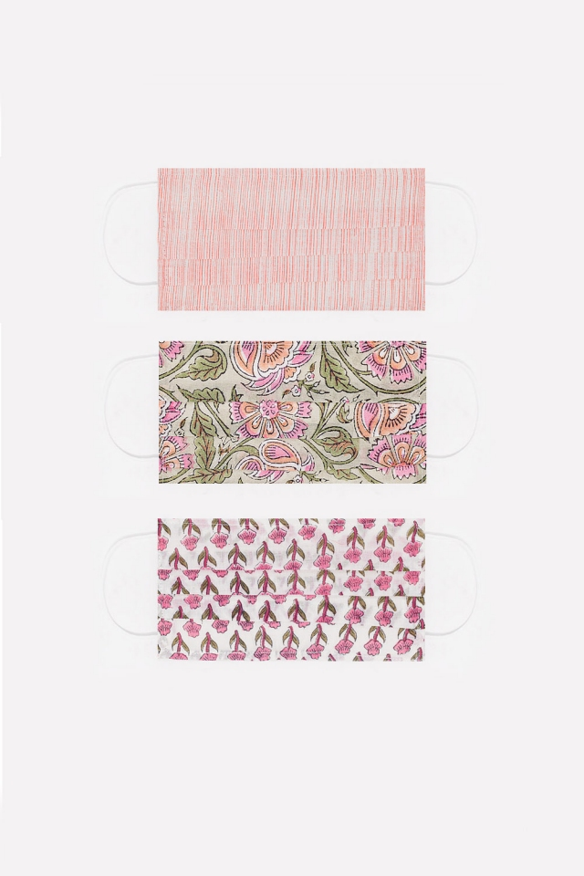 3 PACK organic cotton printed pink Mask