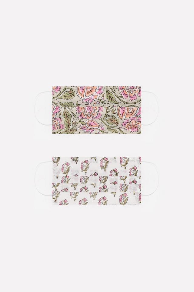 2 PACK Grün Blumen Bio-Baumwolle Maske