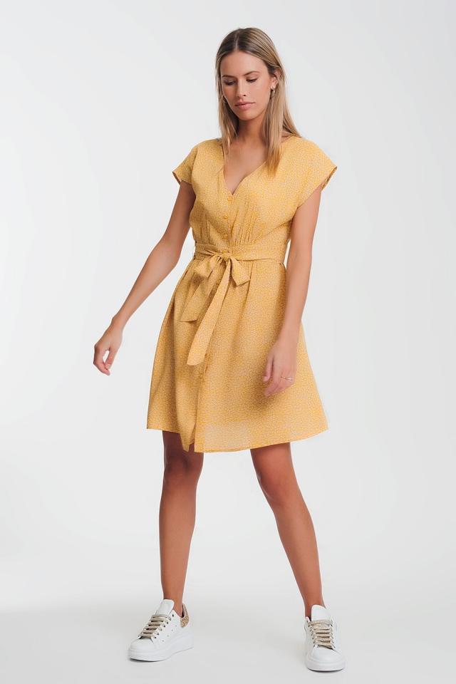 button through smock mustard dress in ditsy print