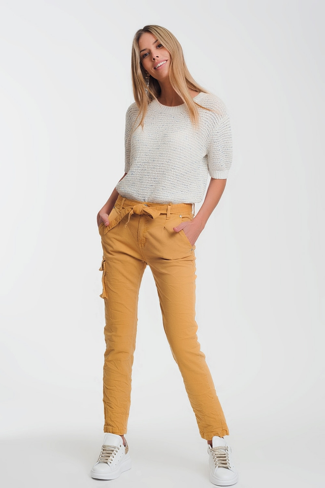 straight cut pants in mustard