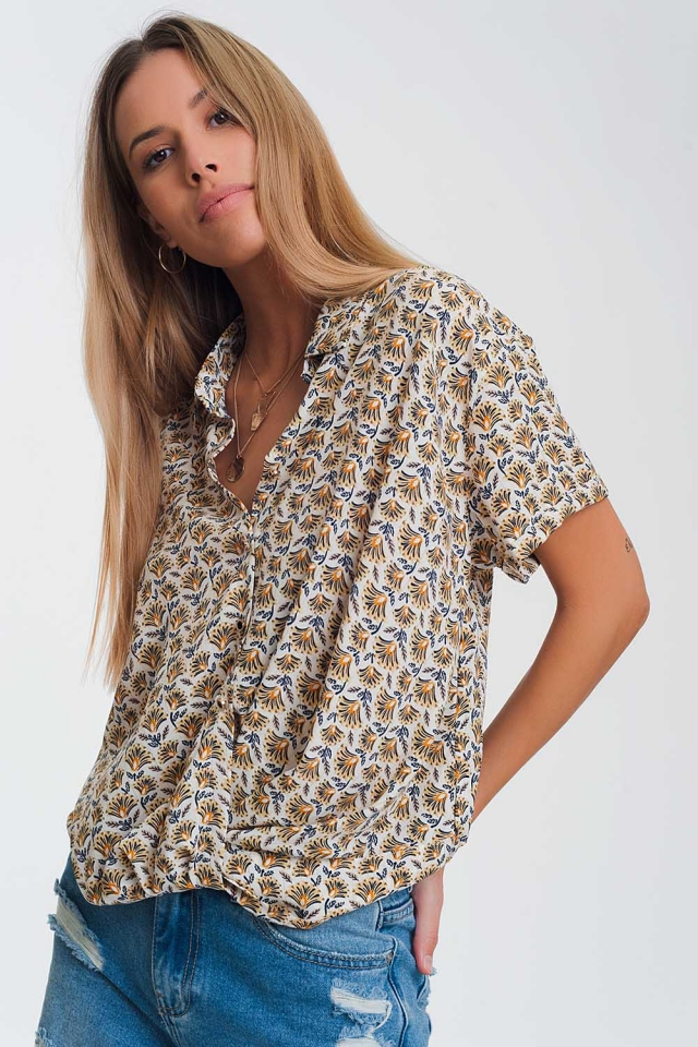 yellow printed wide Blouse