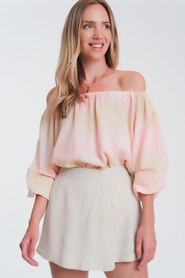 off shoulder top in pink tie dye