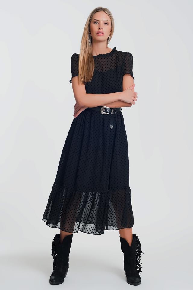 ruffle hem midi smock dress in polka dot