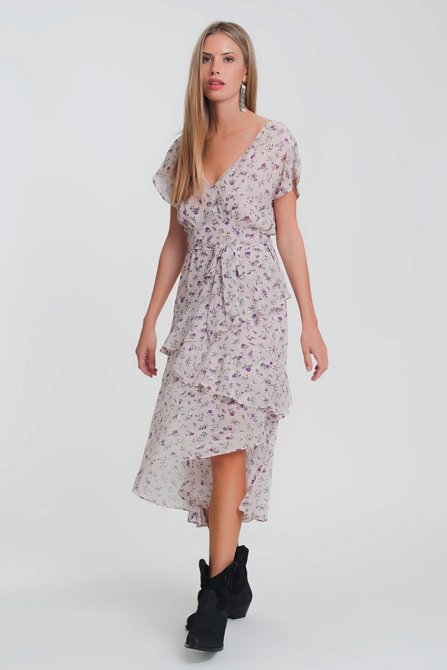 maxi dress with soft layered skirt in pink flower print