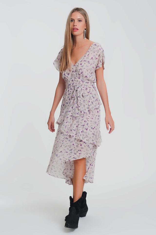 Roze midi-jurk in gelaagde bloemenprint
