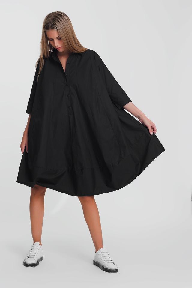 Oversize-Hängerkleid aus Baumwoll-Popeline in Schwarz
