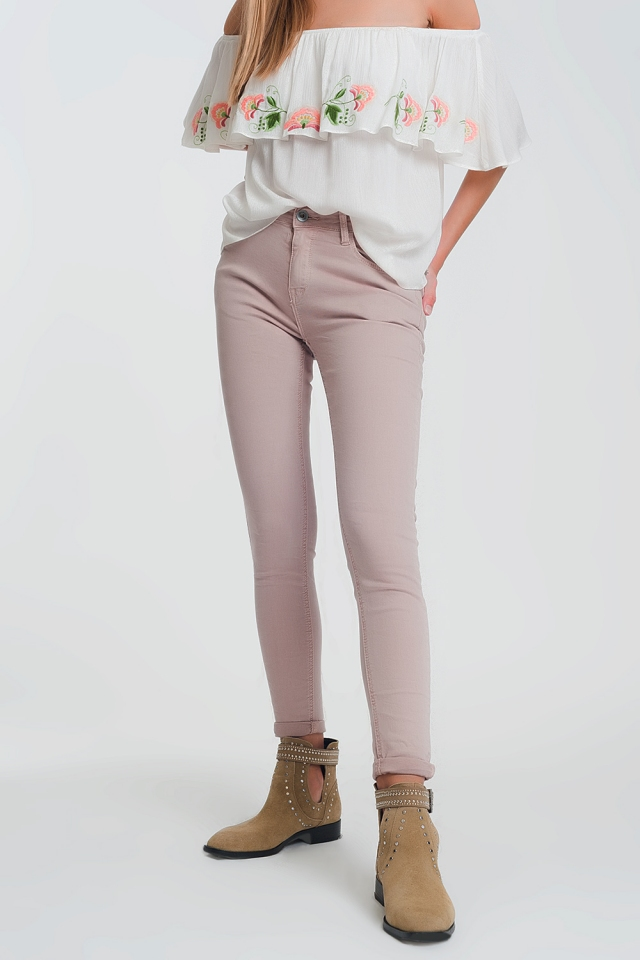 High waisted super skinny pants in pink