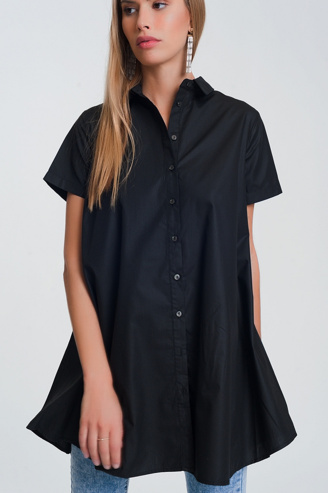 short sleeves oversized poplin shirt in black