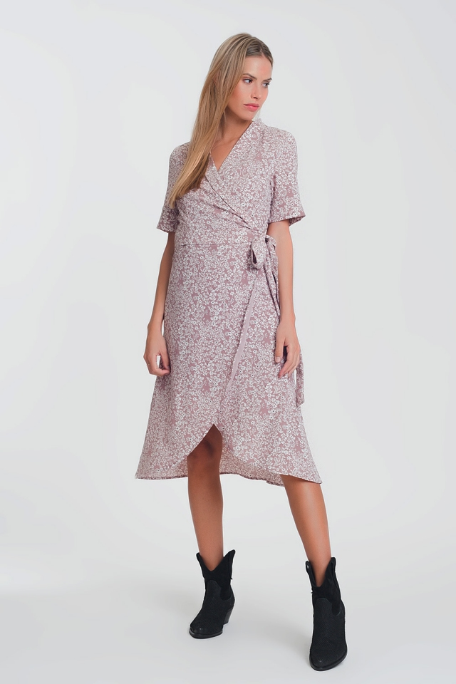wrap midi dress in pink floral print