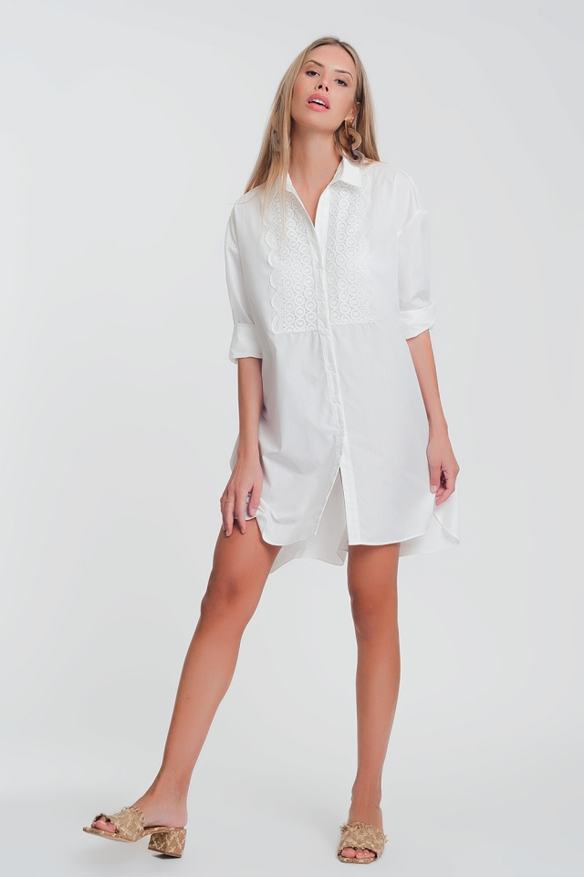poplin shirt dress with lace detail in white