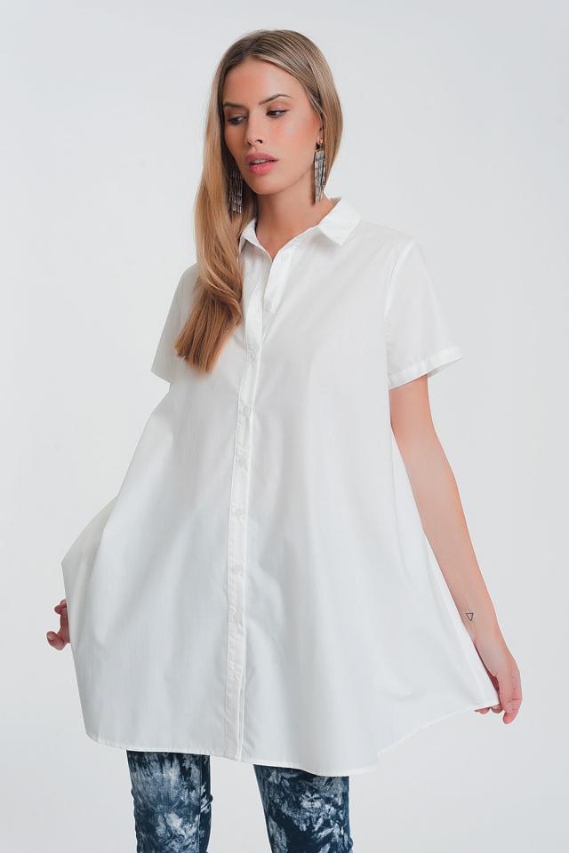 Oversize-Popelinehemd in weiß