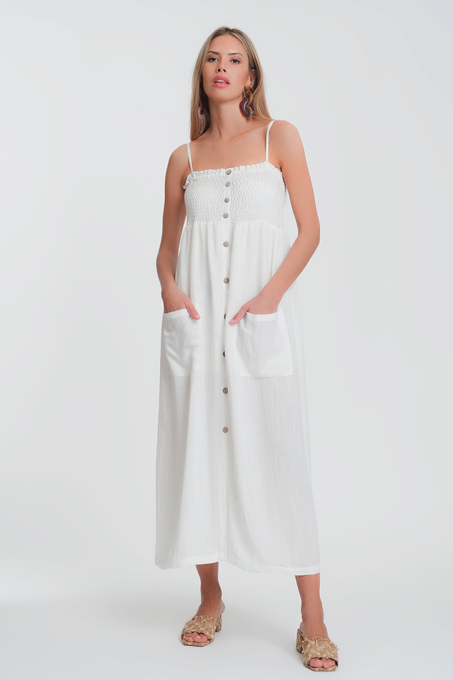 shirred bust maxi white dress with pockets