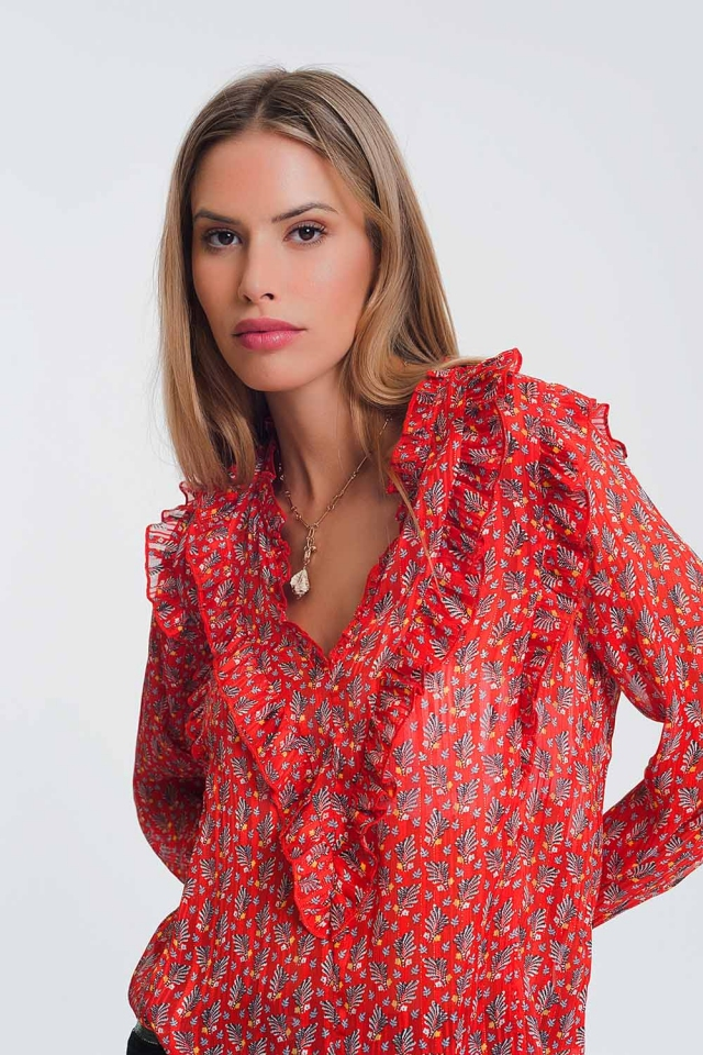 frill v neck blouse in red floral