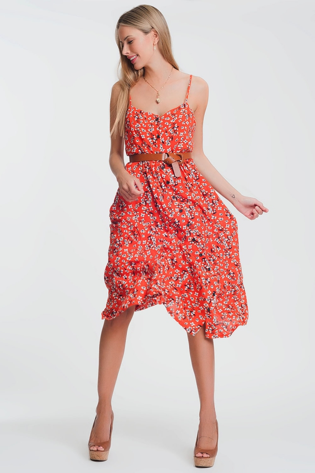 button through maxi dress in red floral print