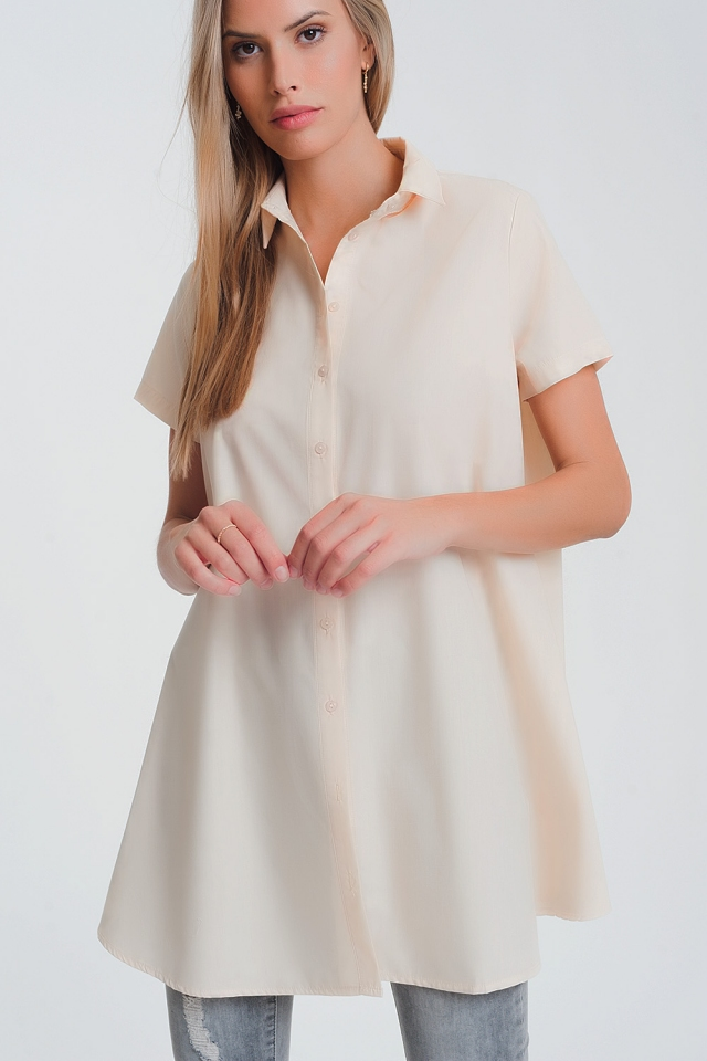 short sleeves oversized poplin shirt in beige