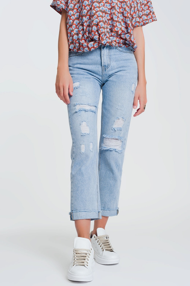 ripped straight fit jeans in light denim