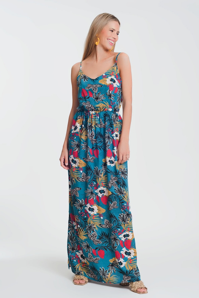 maxi dress with shirred waist in floral print