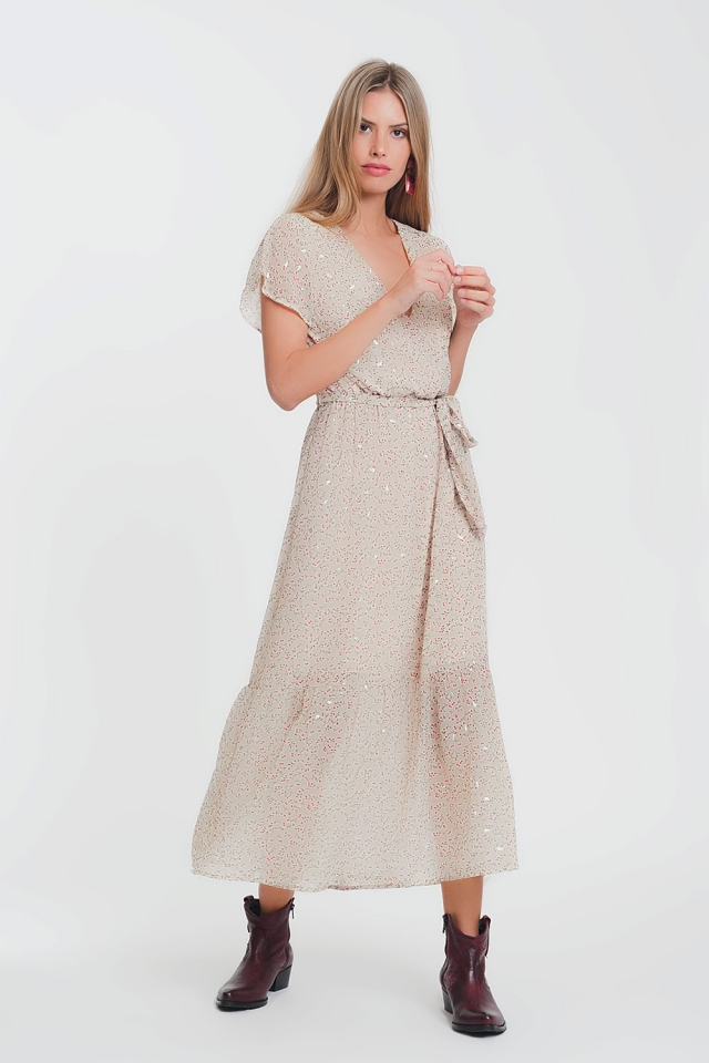Maxi dress with tie waist in ditsy floral