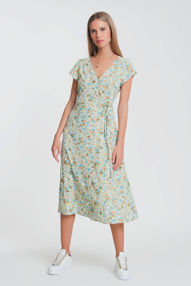 ditsy floral wrap midi dress in green