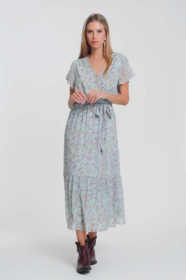 short sleeve chiffon floral maxi dress in blue