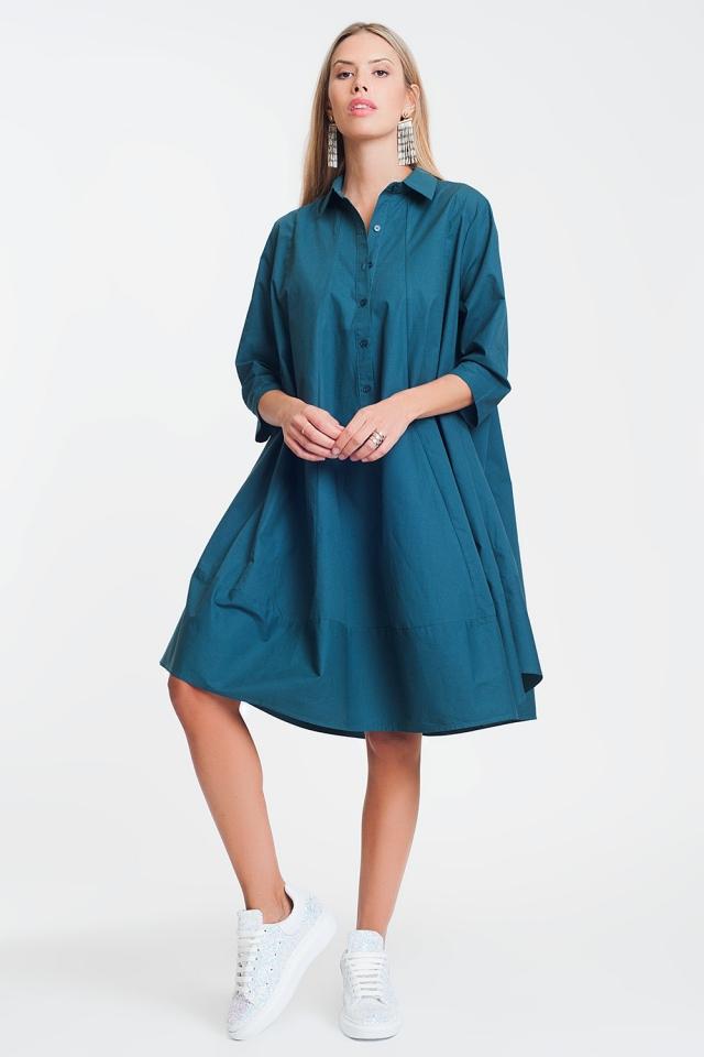 Cotton poplin oversized smock dress in green