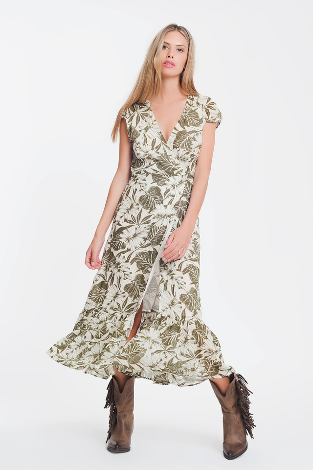 wrap front maxi dress in green tropical palm print