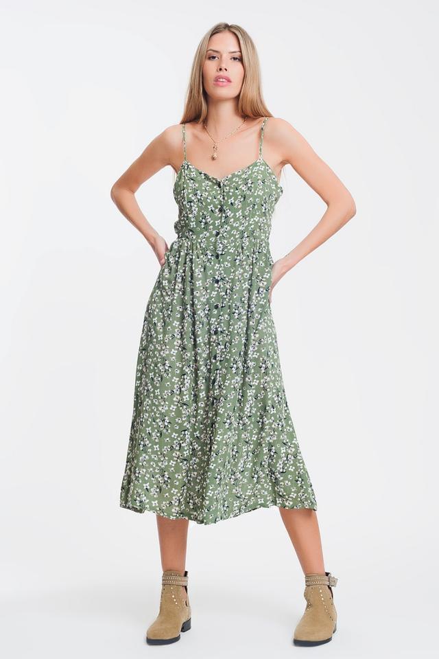 button through maxi dress in green floral print