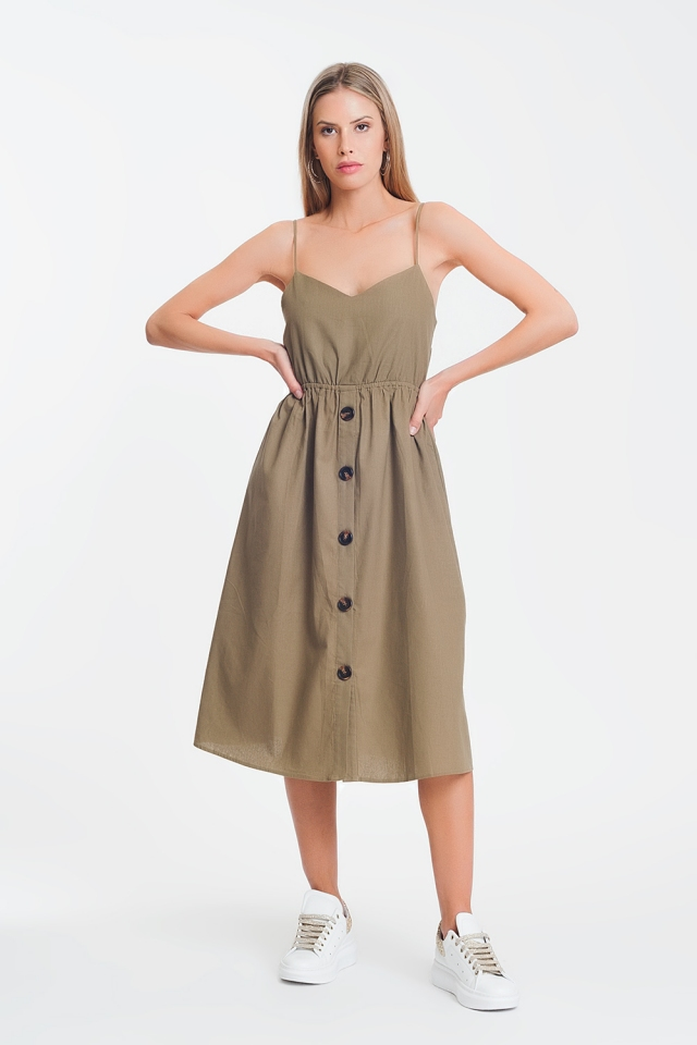 button through midi dress in khaki