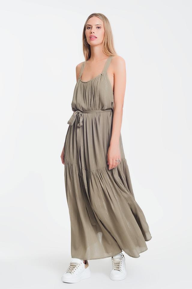 cross back maxi dress in khaki