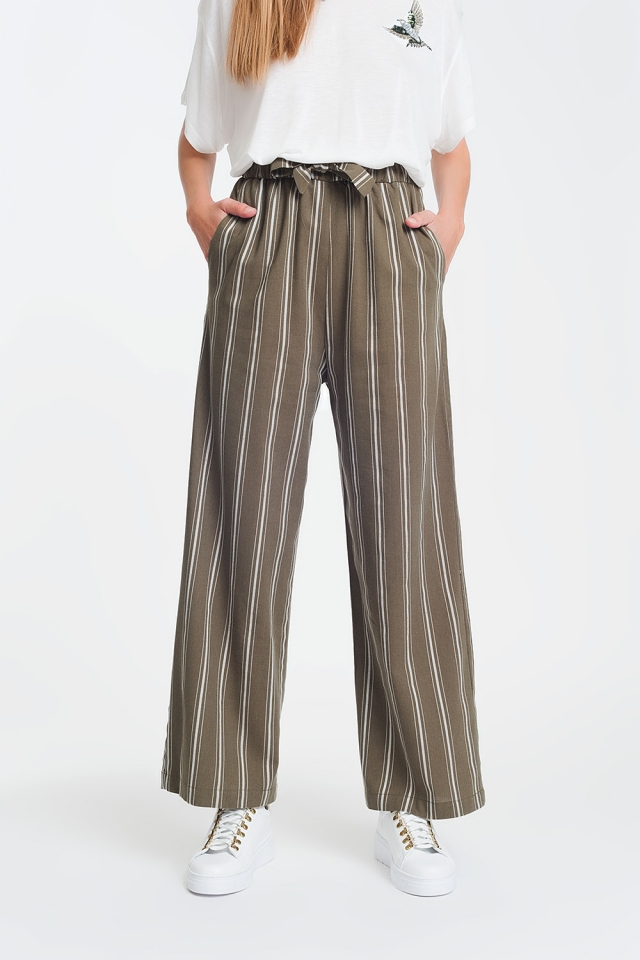 wide leg pants in green and white stripe