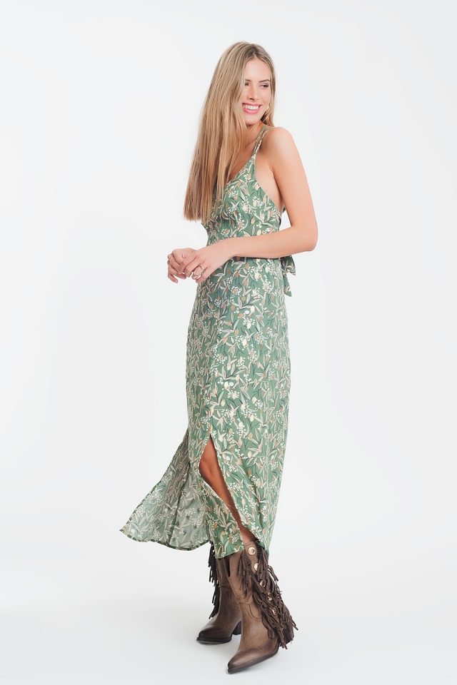 maxi cami green dress with open back in floral