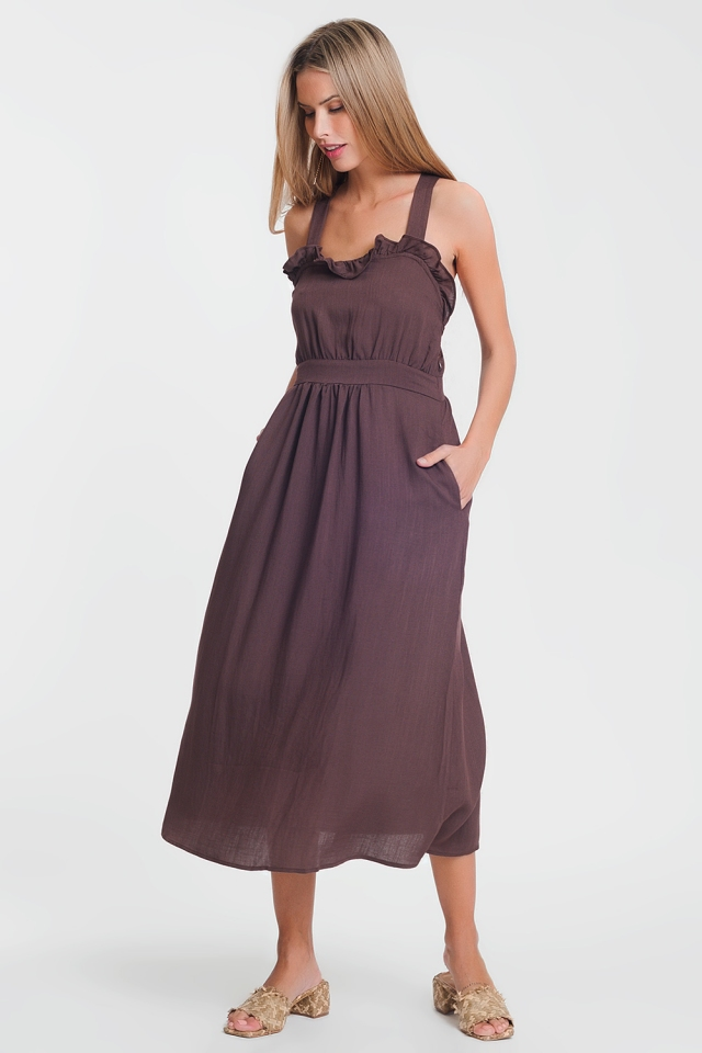 cross back midi dress in brown