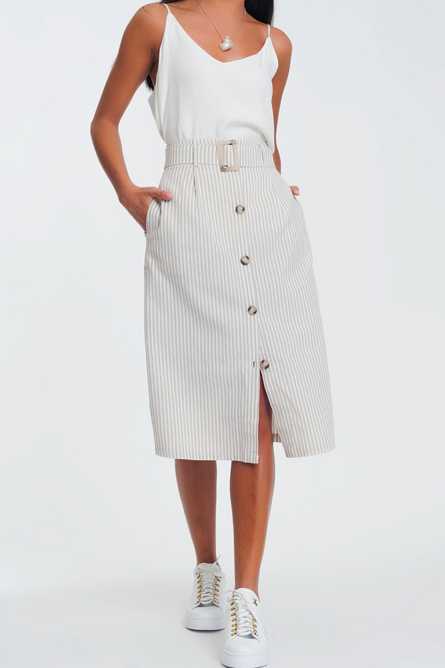 Beige stripe midi skirt with buttons