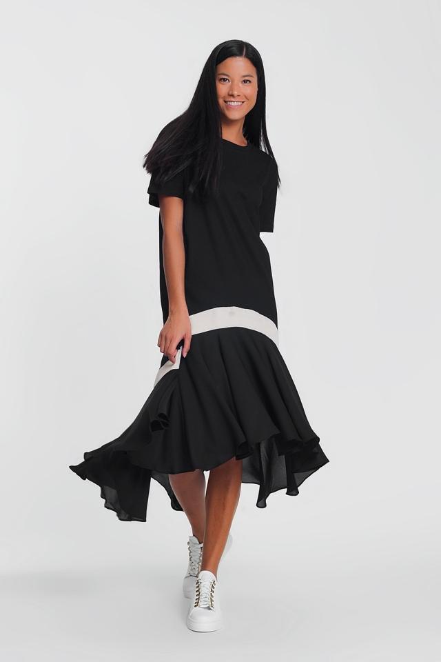 maxi black dress with a white stripe