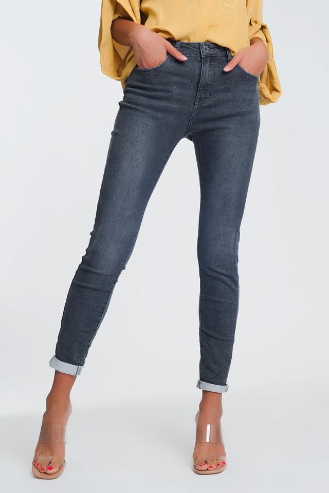 High Waisted Denim Jeans In Glitter Fabric