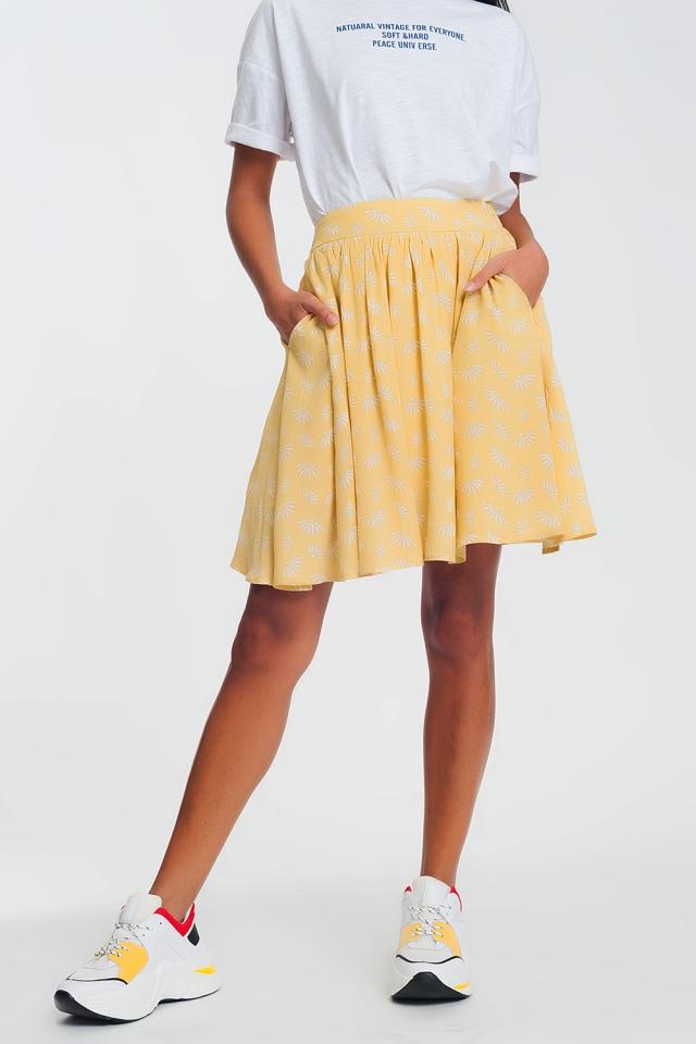 Schwingender Minirock mit Vintage-Blumenmuster en gelb
