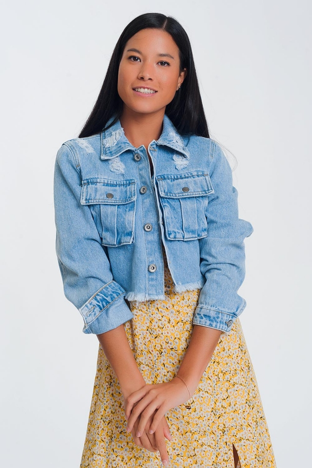 Cropped denim jacket with raw hem in light denim