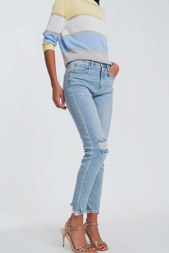 Straight cut jeans in light denim