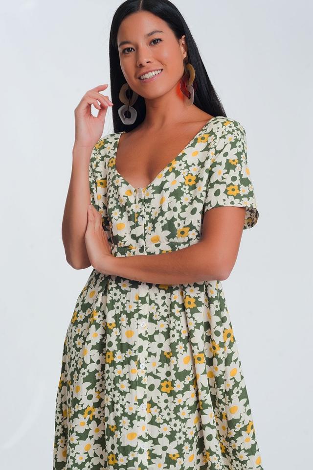 mini dress in green floral print