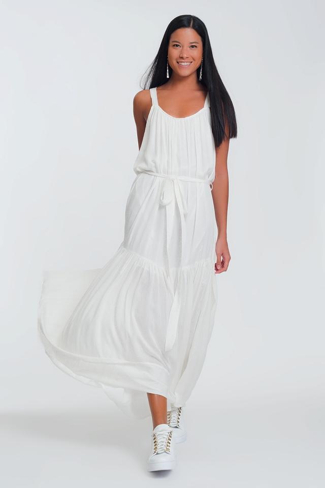 cross back maxi dress in white