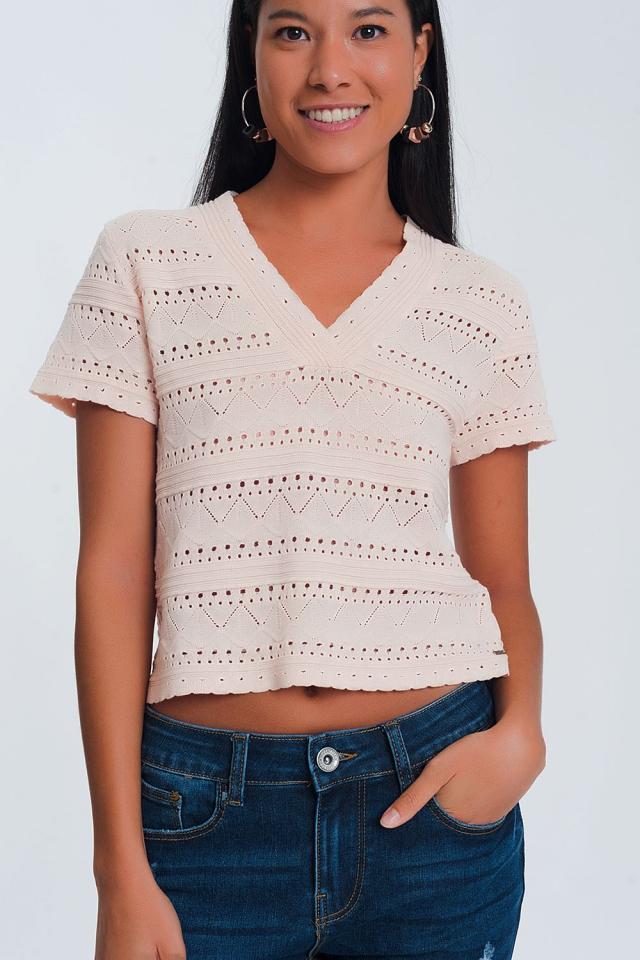 Pink textured crochet knit sweater
