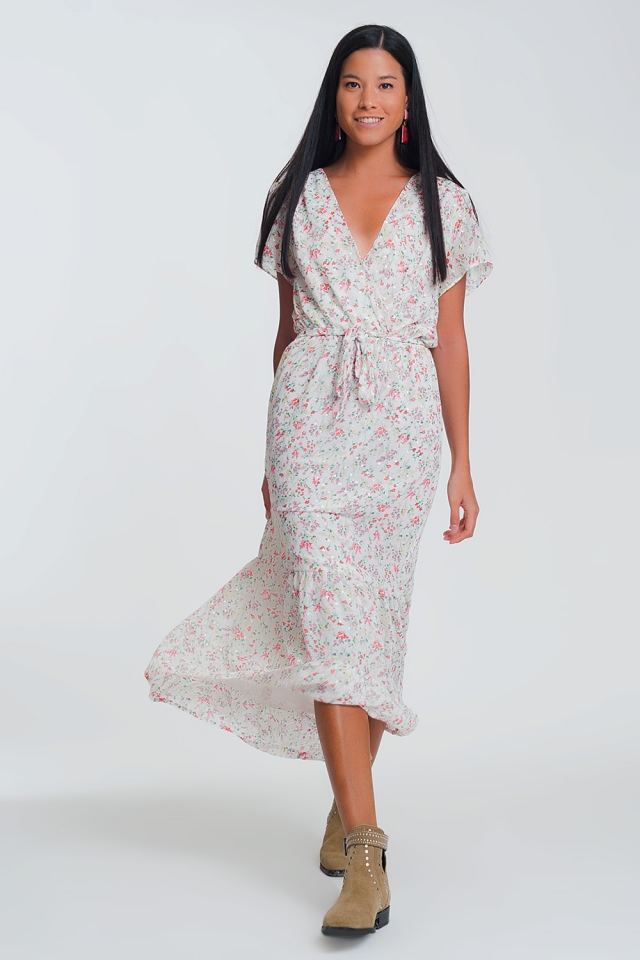 V neck midi dress in floral print in cream color