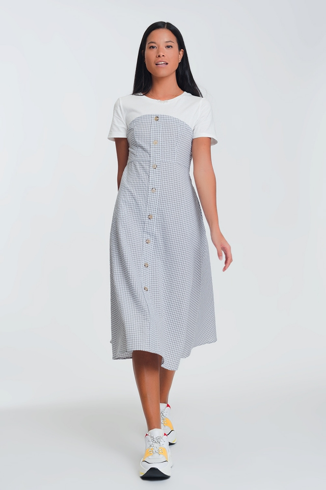 Cream plaid dress with buttons