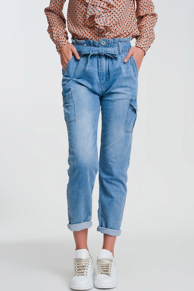 Paperbag tie waist jeans in light blue